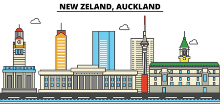 New Zealand, Auckland City skyline: architecture, buildings, streets, silhouette, landscape, panorama, landmarks. Editable strokes. Flat design line vector illustration concept.