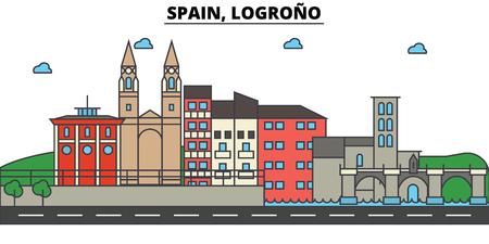 Spain, Logrono City skyline: architecture, buildings, streets, silhouette, landscape, panorama, landmarks. Editable strokes. Flat design line vector illustration concept