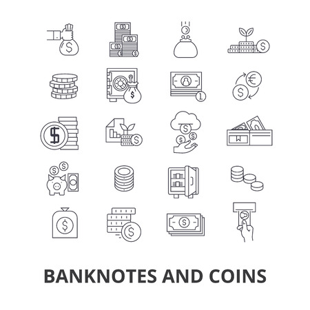 Banknotes and coins, money, euro, guilloche, bank, dollar, note, coins, bill line icons.