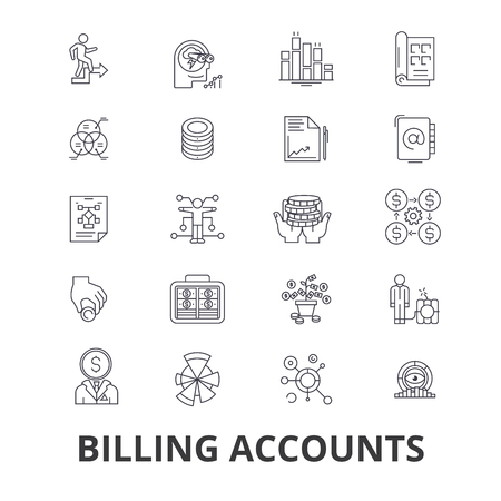 Billing accounts, paying bill, money, receipt, utility, debt, check, payment line icons.