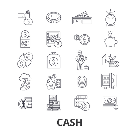 Cash, money, register, dollar, pile, dollar bill, coins, bank, pay, buy, sell line icons.