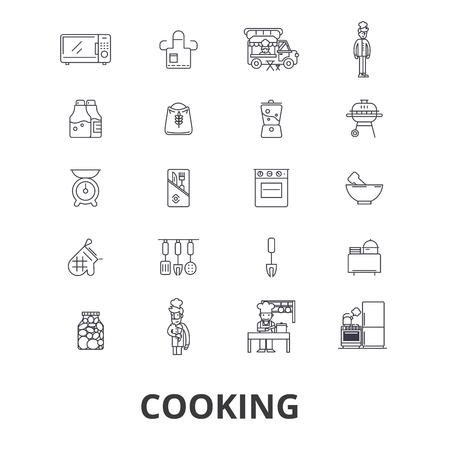 Koken, keuken, eten, chef-kok, chef-kok klasse, bakken, recept, gebruiksvoorwerpen lijn pictogrammen.