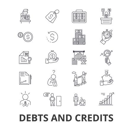 借金やクレジット、お金、破産、ビル、富、金融、金融コレクターラインのアイコン。 写真素材 - 85652030