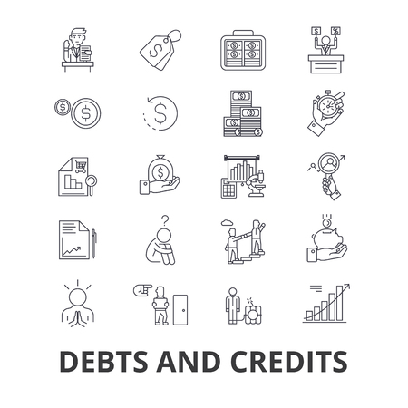 Debts and credits, money, bankruptcy, bill, wealth, finance, financial collector line icons.