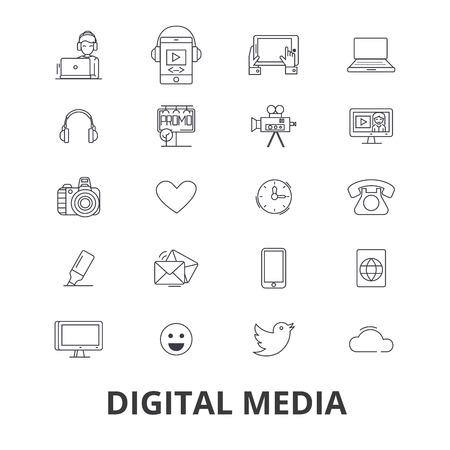 Digital media, marketing, social life, technology, technic world, tool buying line icons.
