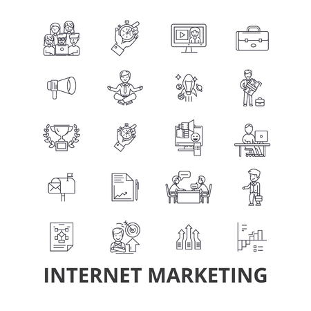 Internet marketing, seo, online, shopping, social media, digital, money, web line icons.