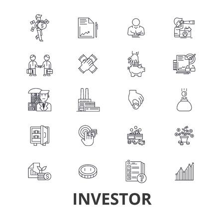 investor: Investor, investment, business, stock market, finance, money, business man, bank line icons.