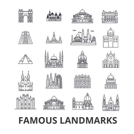 有名なランドマーク、観光スポット、世界の場所、世界の旅行のアイコン。