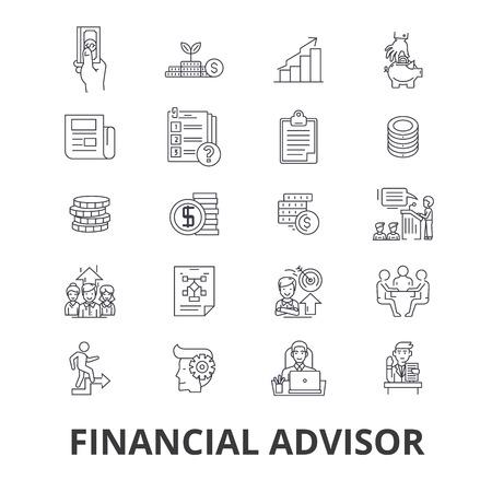 Asesor financiero, planificación, consejero, planificador, inversión, contador, línea de negocio iconos. Foto de archivo - 85652153