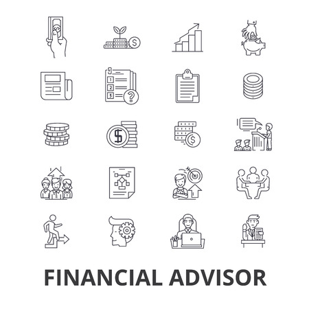 Financieel adviseur, planning, adviseur, planner, investering, accountant, business line iconen.