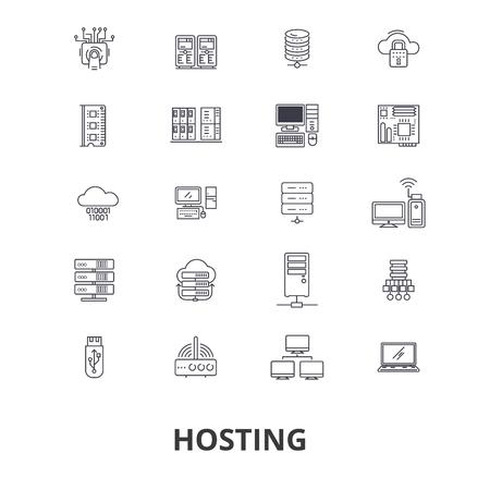 Hosting, anfitriona, web, servidor, alojamiento en la nube, dominio, informática, iconos de líneas internas. Foto de archivo - 85652166