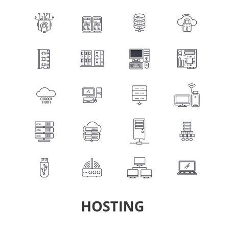 Hosting, hostess, web, server, cloud hosting, domain, computing, interne line icons.