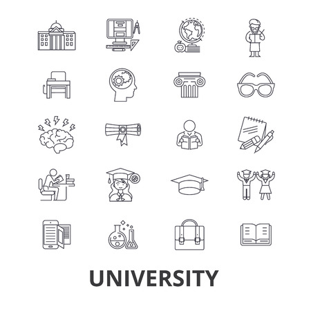 University, science, students,graduation, campus, study, knowledge line icons. Illustration