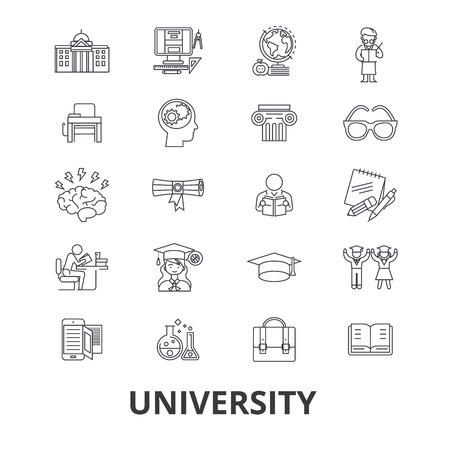 University, science, students,graduation, campus, study, knowledge line icons. Ilustrace