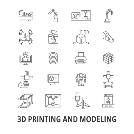 Drukowanie 3D, model, grafika, prototyp, modelowanie, produkcja, ikony linii produkcyjnej. Edytowalne obrysy. Płaska konstrukcja wektor symbol ilustracja koncepcja. Liniowe znaki na białym tle Ilustracje wektorowe