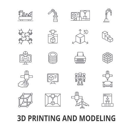 Impression 3D, modèle, graphiques, prototype, modélisation, fabrication, icônes de ligne de production. Traits modifiables. Concept de symbole de design plat vector illustration. Signes linéaires isolés sur fond Vecteurs