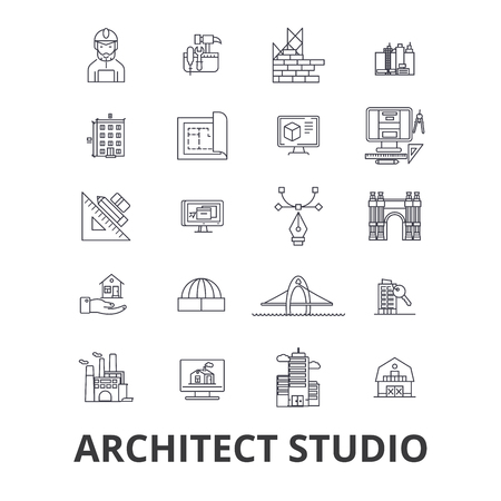 Architect studio, house plan, building, construction, design, architecture line icons. Editable strokes. Flat design vector illustration symbol concept. Linear signs isolated on background Illustration