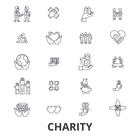 Charity, donation, volunteer, fundraising, philanthropy, helping hands line icons. Editable strokes. Flat design vector illustration symbol concept. Linear signs isolated on background