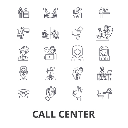 Call center, customer service, agent, client help, operator, support, contact us line icons. Editable strokes. Flat design vector illustration symbol concept. Linear signs isolated on background