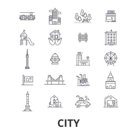 City, urban, building, real estate, architecture, construction, skyscraper line icons. Editable strokes. Flat design vector illustration symbol concept. Linear signs isolated on background Stock Vector - 85713798