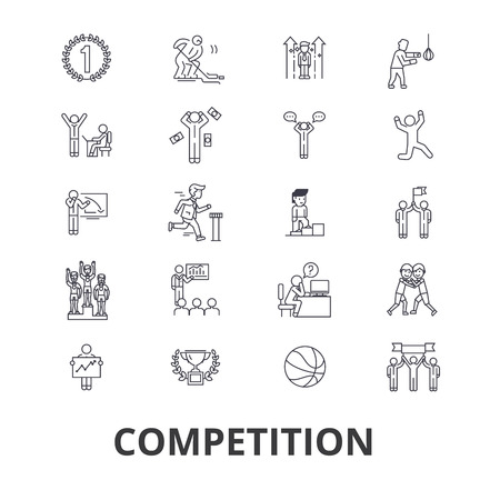 Competition, winnter, award, success, champion, perfomance, competitor, race line icons. Editable strokes. Flat design vector illustration symbol concept. Linear signs isolated on background Ilustração