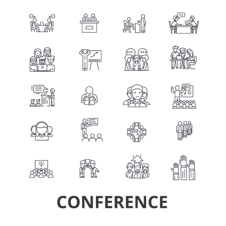Conference, presentation, meeting, business discussion, teamwork, management line icons. Editable strokes. Flat design vector illustration symbol concept. Linear signs isolated on background Иллюстрация