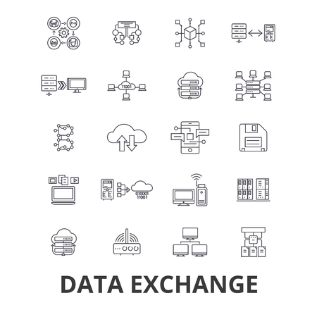 Data exchange, internet, transfer, connection,technology,synchronization line icons. Editable strokes. Flat design vector illustration symbol concept. Linear signs isolated on background