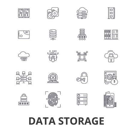 Data storage line icons. Editable strokes. Flat design vector illustration symbol concept. Linear signs isolated on background