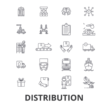 Distribution, delivery, sales system, retail, transportation, commerce, shipping line icons. Editable strokes. Flat design vector illustration symbol concept. Linear signs isolated on background Illustration
