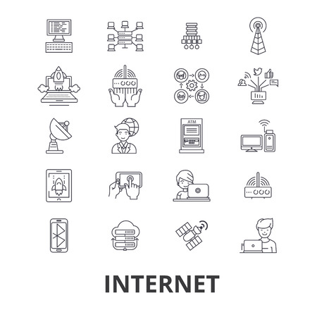 Internet, web, network, communication, online site, social, website line icons. Editable strokes. Flat design vector illustration symbol concept. Linear signs isolated on background Illustration