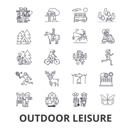 Outdoor leisure, vacaton, activity, hobby, lifestyle, travel line icons. Editable strokes. Flat design vector illustration symbol concept. Linear signs isolated on background Illustration