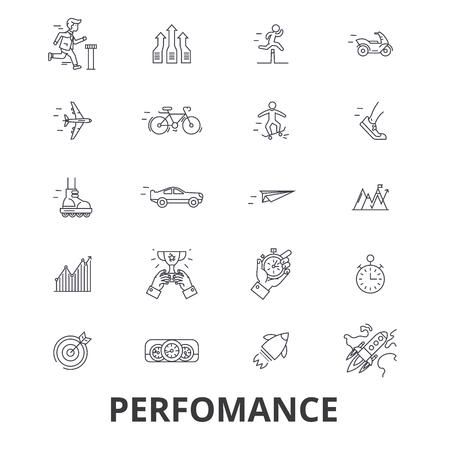 Prestatie, succes, prestatie, zakelijk doel, mijlpaallijnpictogrammen. Bewerkbare lijnen. Platte ontwerp vector illustratie symbool concept. Lineaire tekens die op achtergrond worden geïsoleerd Stock Illustratie