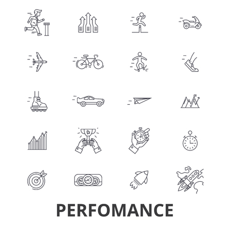 Perfomance, success, achievement, business goal, milestone line icons. Editable strokes. Flat design vector illustration symbol concept. Linear signs isolated on background Illustration