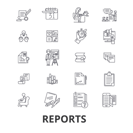 Reports, documents, analytics, paper, data management, news, charts line icons. Editable strokes. Flat design vector illustration symbol concept. Linear signs isolated on background
