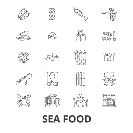 Sea food, fish, crab, lobster, prawns, salmon, restaurant line icons. Editable strokes. Flat design vector illustration symbol concept. Linear signs isolated on background