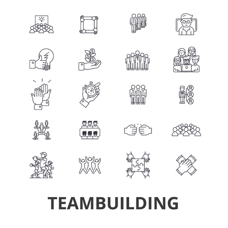 Teambuilding, gemeenschap, teamwork, leiderschap, teamgeest, pictogrammen van bedrijfsbedrijfslijnen. Bewerkbare lijnen. Platte ontwerp vector illustratie symbool concept. Lineaire tekens die op achtergrond worden geïsoleerd