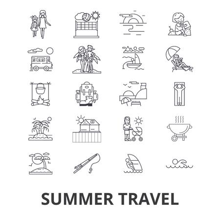 夏の旅行、ビーチバケーション、ヨット、日当たりの良い旅行、休日の線のアイコン。編集可能なストローク。フラットデザインベクトルイラスト
