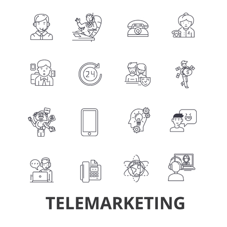 Telemarketing, call center, televendas, marketing, ícones de linha de vendas diretas. Traços editáveis. Conceito de símbolo de ilustração vetorial design plano. Sinais lineares isolados no fundo