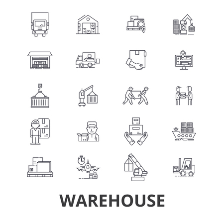 car isolated: Warehouse building, logistics, delivery, storage, forklift, industry, store line icons. Editable strokes. Flat design vector illustration symbol concept. Linear signs isolated on background