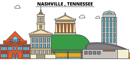 Nashville, Tennessee. City skyline architecture, buildings, streets, silhouette, landscape, panorama landmarks Editable strokes Flat design line vector illustration Isolated icons Stock Photo