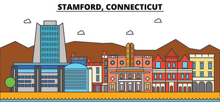 Stamford, Connecticut. City skyline architecture, buildings, streets, silhouette, landscape, panorama landmarks Editable strokes Flat design line vector illustration Isolated icons Stock Photo