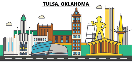 Tulsa,Oklahoma. City skyline architecture, buildings, streets, silhouette, landscape, panorama landmarks Editable strokes Flat design line vector illustration Isolated icons