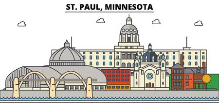 St. Paul, Minnesota. City skyline architecture, buildings, streets, silhouette, landscape, panorama landmarks Editable strokes Flat design line vector illustration Isolated icons
