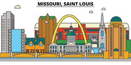 Missouri, Saint Louis. City skyline architecture, buildings, streets, silhouette, landscape, panorama, landmarks Editable strokes Flat design line vector illustration Isolated icons