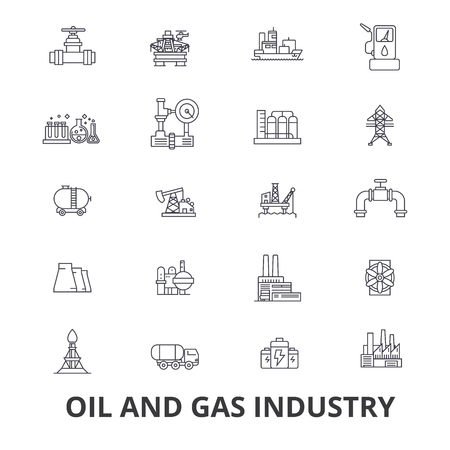 Oil and gas industry, rig, platform, refinery, energy, industrial line icons. Editable strokes. Flat design illustration symbol concept.