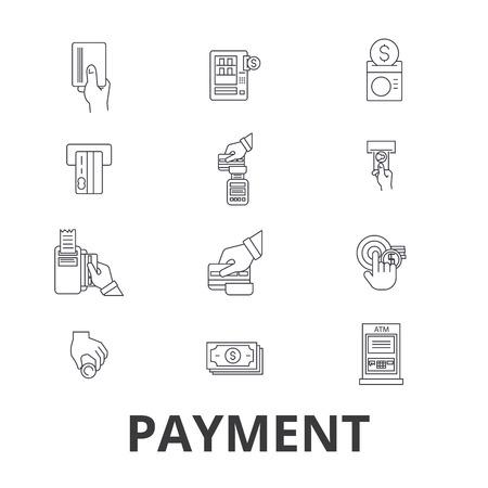 支払い、支払い、お金、クレジットカード、オンライン請求書、給与、ショップ、請求明細行のアイコン。編集可能なストローク。フラットデザイ
