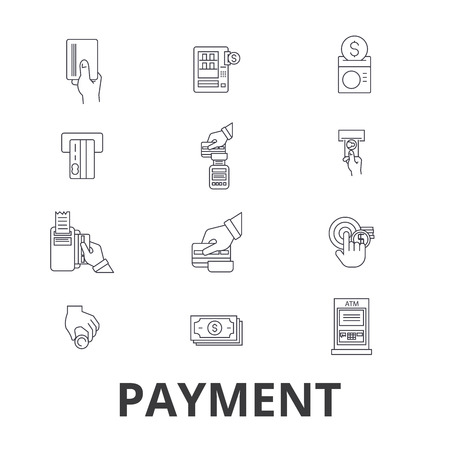 Payment, pay, money, credit card, online bill, salary, shop, invoice line icons. Editable strokes. Flat design illustration symbol concept. Linear signs.