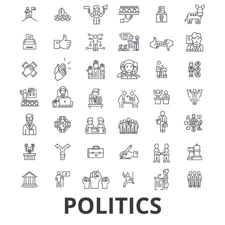 Politique, politicien, vote, élection, gouvernement, icônes de la ligne de parti politique. Coups modifiables.
