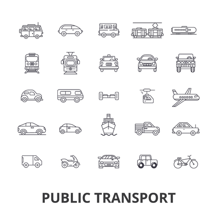 Public transport, transportation, subway, bus stop, traffic, taxi, city bus line icons. Editable strokes. Flat design illustration symbol concept. Ilustrace