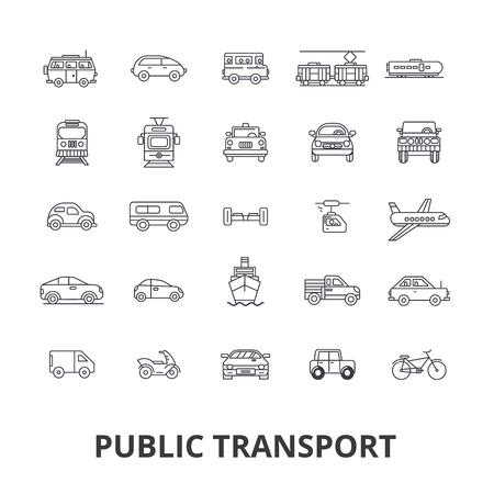 Public transport, transportation, subway, bus stop, traffic, taxi, city bus line icons. Editable strokes. Flat design illustration symbol concept. Illustration